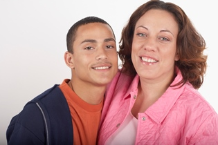 Mother and son image